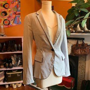 Zara Blue & White Tiny Stripe Cotton Blazer
